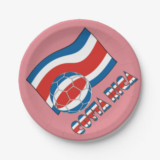 Costa Rican Soccer Ball and Civil Flag Paper Plate
