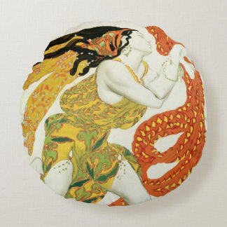 Costume design for a bacchante in 'Narcisse' Round Cushion