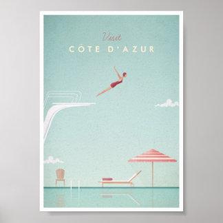 Côte d'Azur Vintage Diving Travel Poster