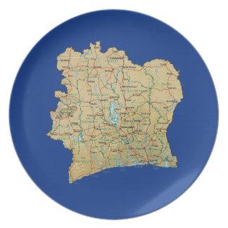 Cote d'Ivoire Map Plate