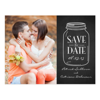Cottage Chic Mason Jar Save the Date Postcard