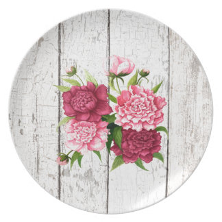 Cottage Chic Peonies Plate