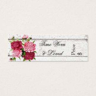 Cottage Chic Rustic Wood and Peonies Business Tag Mini Business Card