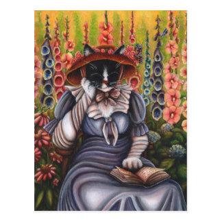 Cottage Garden Cat Reading Book Fantasy Art Card Postcard
