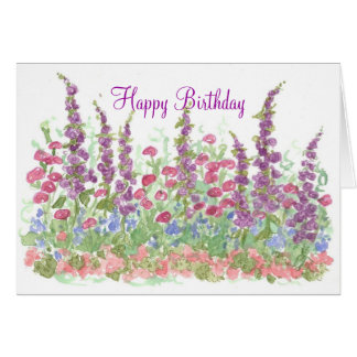 Cottage Garden Happy Birthday Watercolor Garden Greeting Card