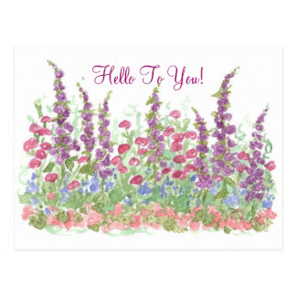 Cottage Garden Hello To You Watercolor Card Post Cards