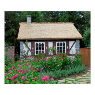 Cottage in the English Gardens Poster