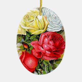 Cottage Rose Garden Ceramic Oval Decoration