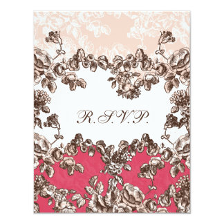 cottage rose pink chic wedding RSVP Personalized Announcement