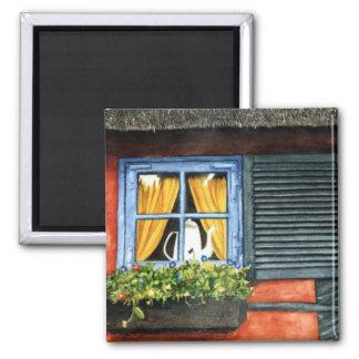 Cottage Window Square Magnet