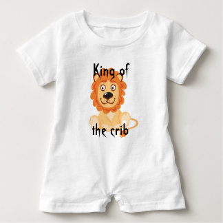Cotton Baby King of the Crib White Romper Outfit Baby Bodysuit