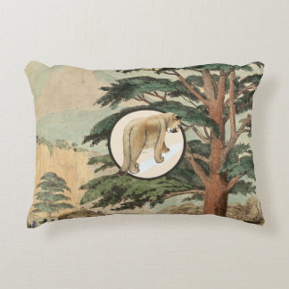 Cougar In Natural Habitat Illustration Decorative Cushion