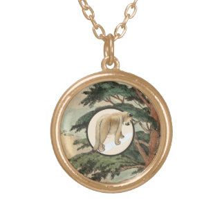 Cougar In Natural Habitat Illustration Round Pendant Necklace