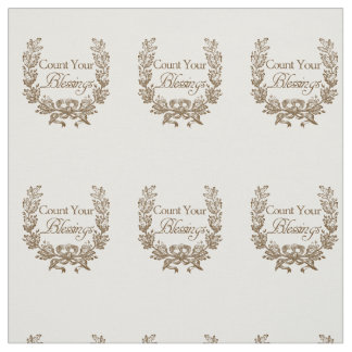 count your blessings vintage typography design fabric
