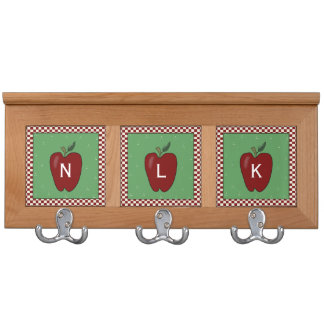Country Apple Coat Rack with Initials