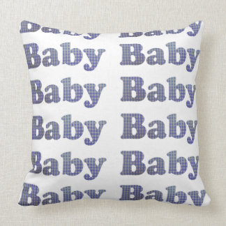 Country Baby Blue Gingham Nursery Pillow
