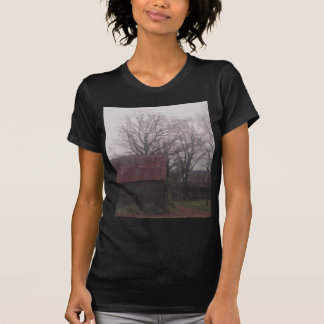 Country Barn Shed Winter Scene Autumn Americana Tshirts