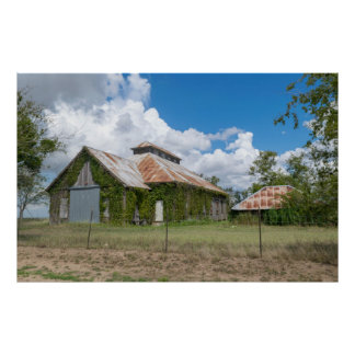 Country barn with ivy & rust poster