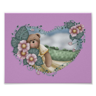 Country Bear in a Heart Print