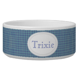 Country Blue Plaid Personalized Pet Bowl