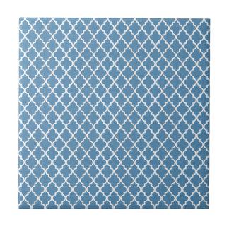 Country Blue Trellis Preppy Quatrefoil Moroccan Small Square Tile