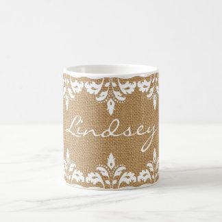 Country Burlap and white damask lace Coffee Mug