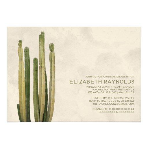 Country Cactus Bridal Shower Invitations Custom Invitation