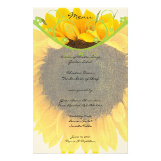Country Chic Sunflower Wedding Reception Menu
