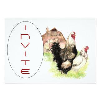 Country Chicken & Rooster Barn Scene Custom Invite