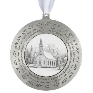 Country Christmas Church Round Ornament
