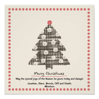"""Country Christmas Holiday Card 5.25"""" Square Invitation Card"""