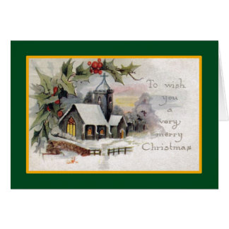 Country Church - A Vintage Christmas Card