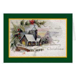 Country Church - A Vintage Christmas Card