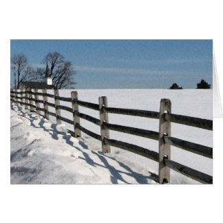 Country Church and Fence Greeting Cards