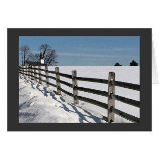 Country Church and Fence Christmas Greeting Card