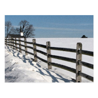 Country Church and Fence in Winter Postcards