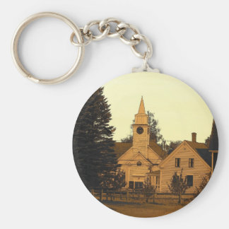 Country Church Basic Round Button Key Ring