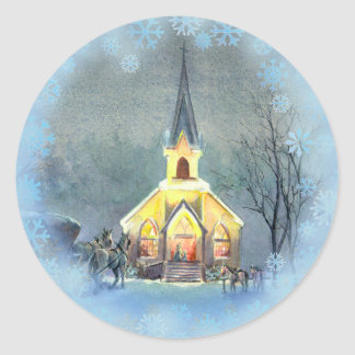 COUNTRY  CHURCH by SHARON SHARPE Sticker