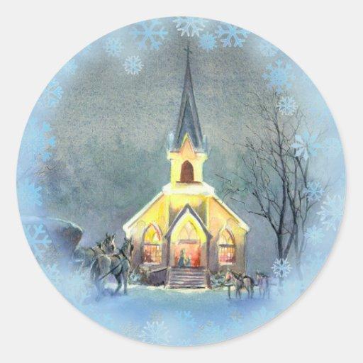 COUNTRY  CHURCH by SHARON SHARPE Sticker