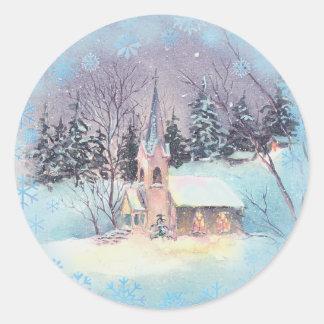 COUNTRY CHURCH by SHARON SHARPE Round Sticker