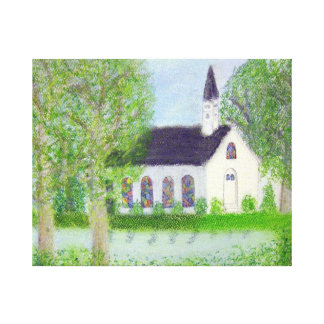 Country Church Stretched Canvas Prints