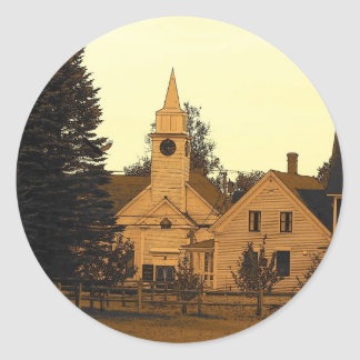Country Church Classic Round Sticker