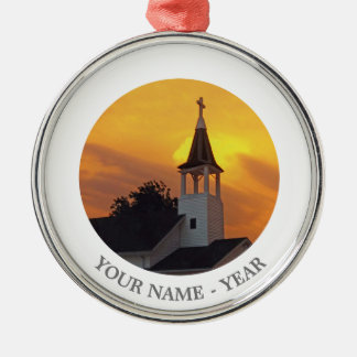 Country Church Silver-Colored Round Decoration