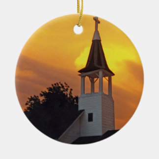 Country Church Round Ceramic Decoration