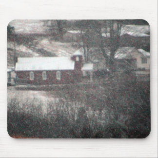 Country Church In A Snowstorm. Mouse Pad
