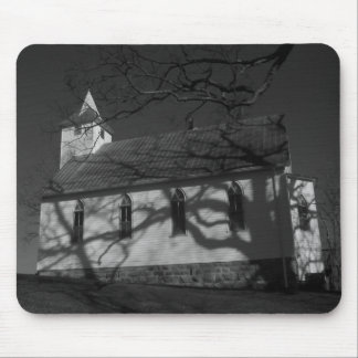 Country Church in Black and White Mouse Pad