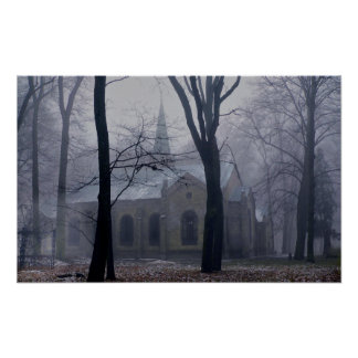 Country Church in the Lavender Mist & Fog Print