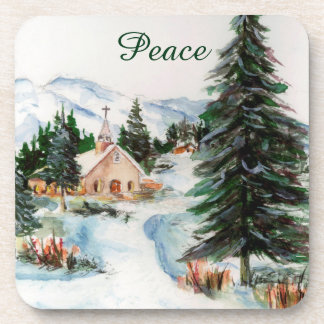 Country Church in Winter Watercolor Mountain Scene Beverage Coaster