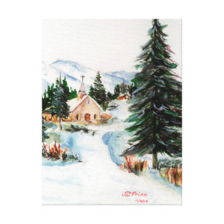 Country Church in Winter Watercolor Mountain Scene Canvas Print