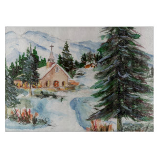 Country Church in Winter Watercolor Mountain Scene Cutting Boards